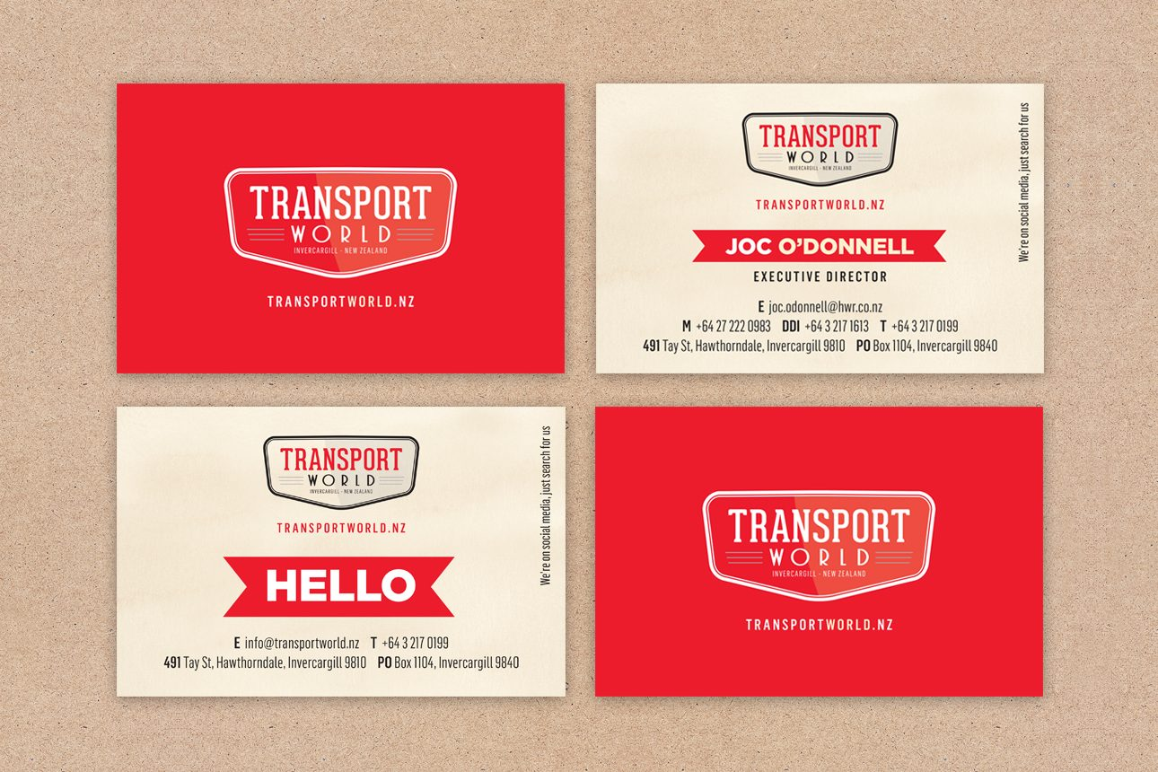 Brand Designers for Transport World in Invercargill Business Card View
